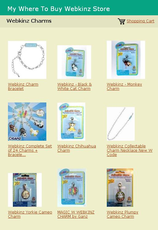 Where to buy Webkinz Charms
